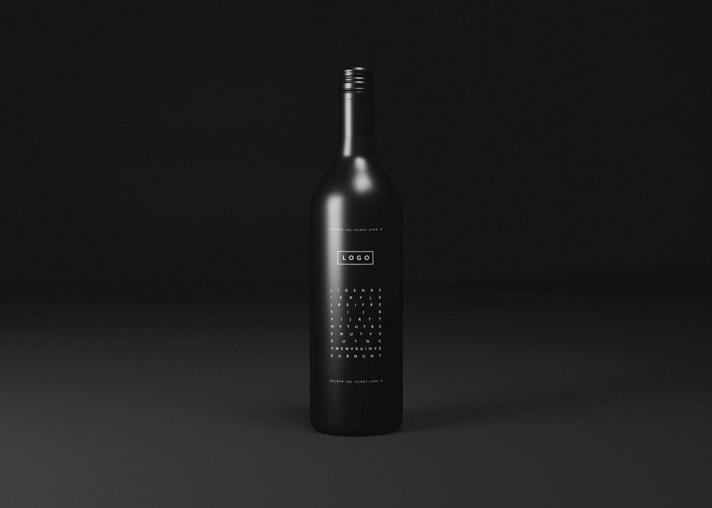 Black Wine Bottle Mockup - Wine bottle