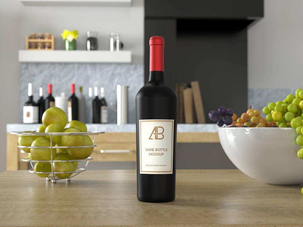 Red / White Wine Bottle on Kitchen Table Mockup - Wine