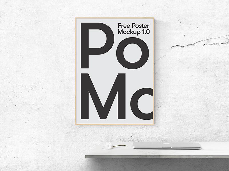 Poster on Office Wall Mockup | ApeMockups