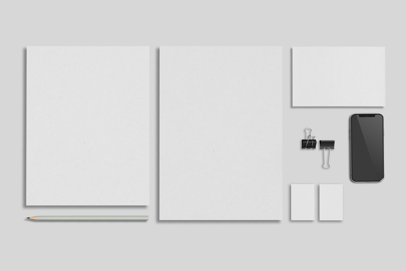Free Stationery with MacBook and iPhone Mockup