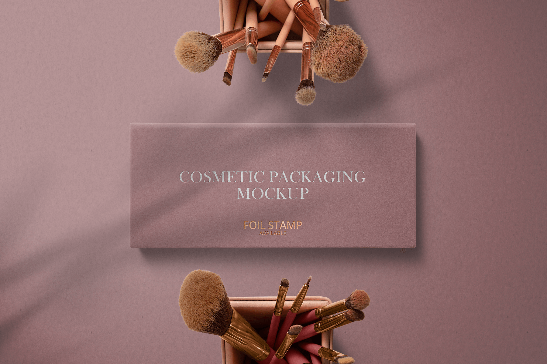 Free Cosmetic Box with Brushes Mockup 1