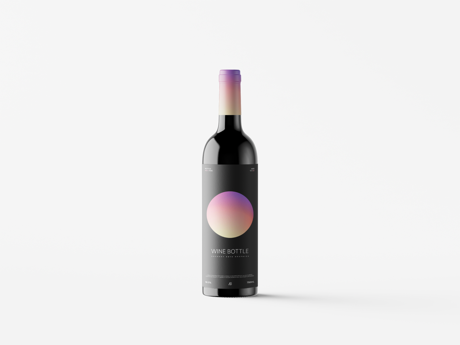 Free Standing Wine Bottle Mockup