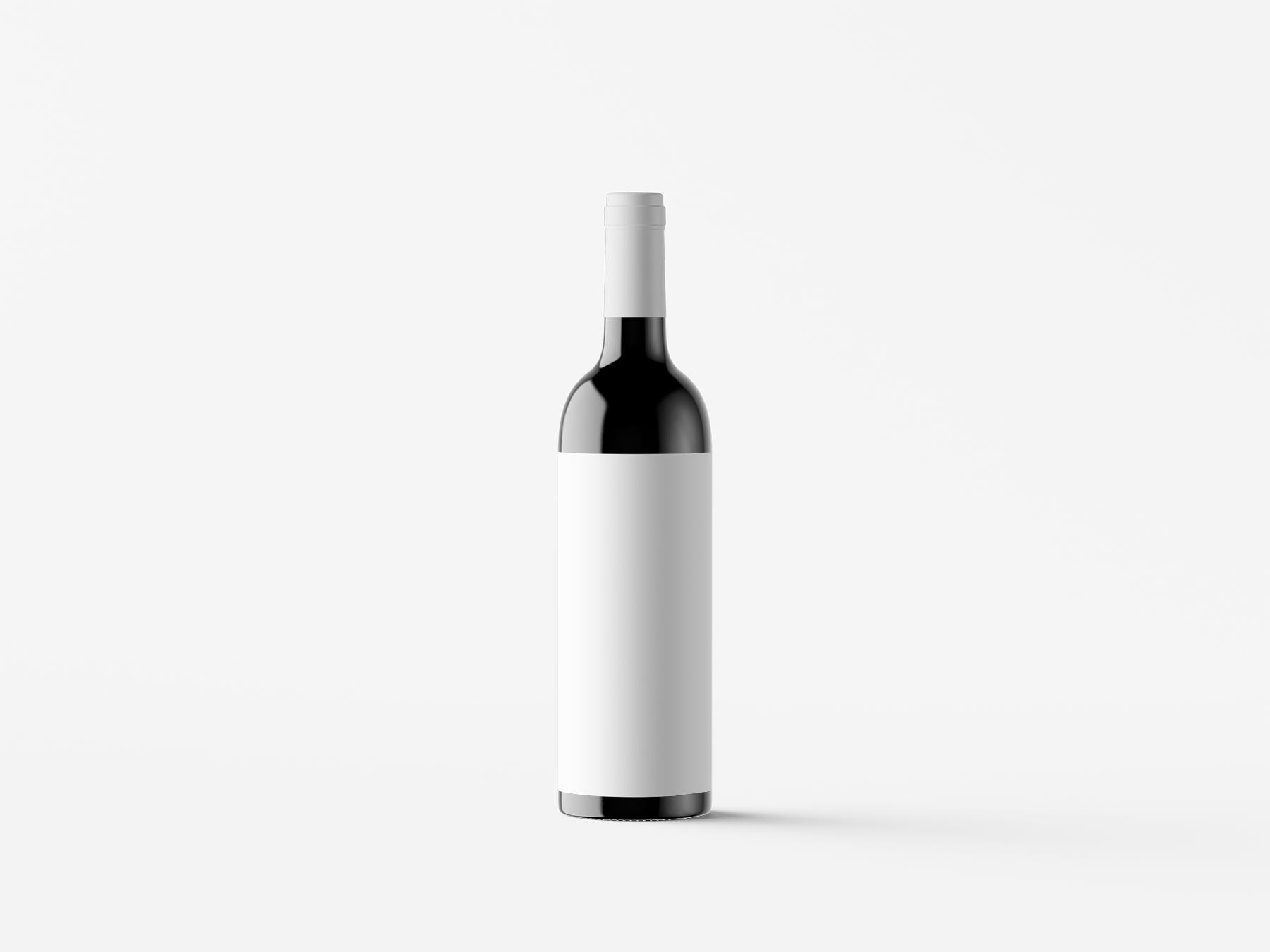 Free Standing Wine Bottle Mockup