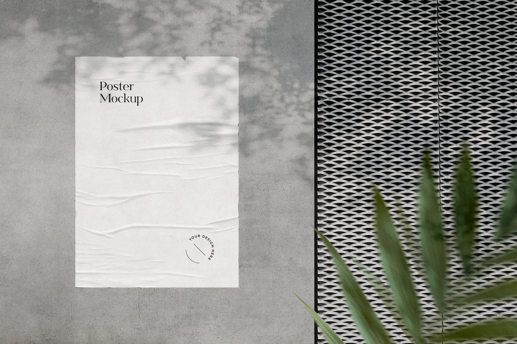 Free Wrinkled Poster on Wall Mockup