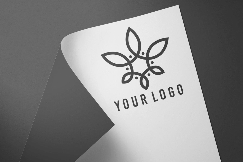 Free Curled Paper Logo Showcase Mockup