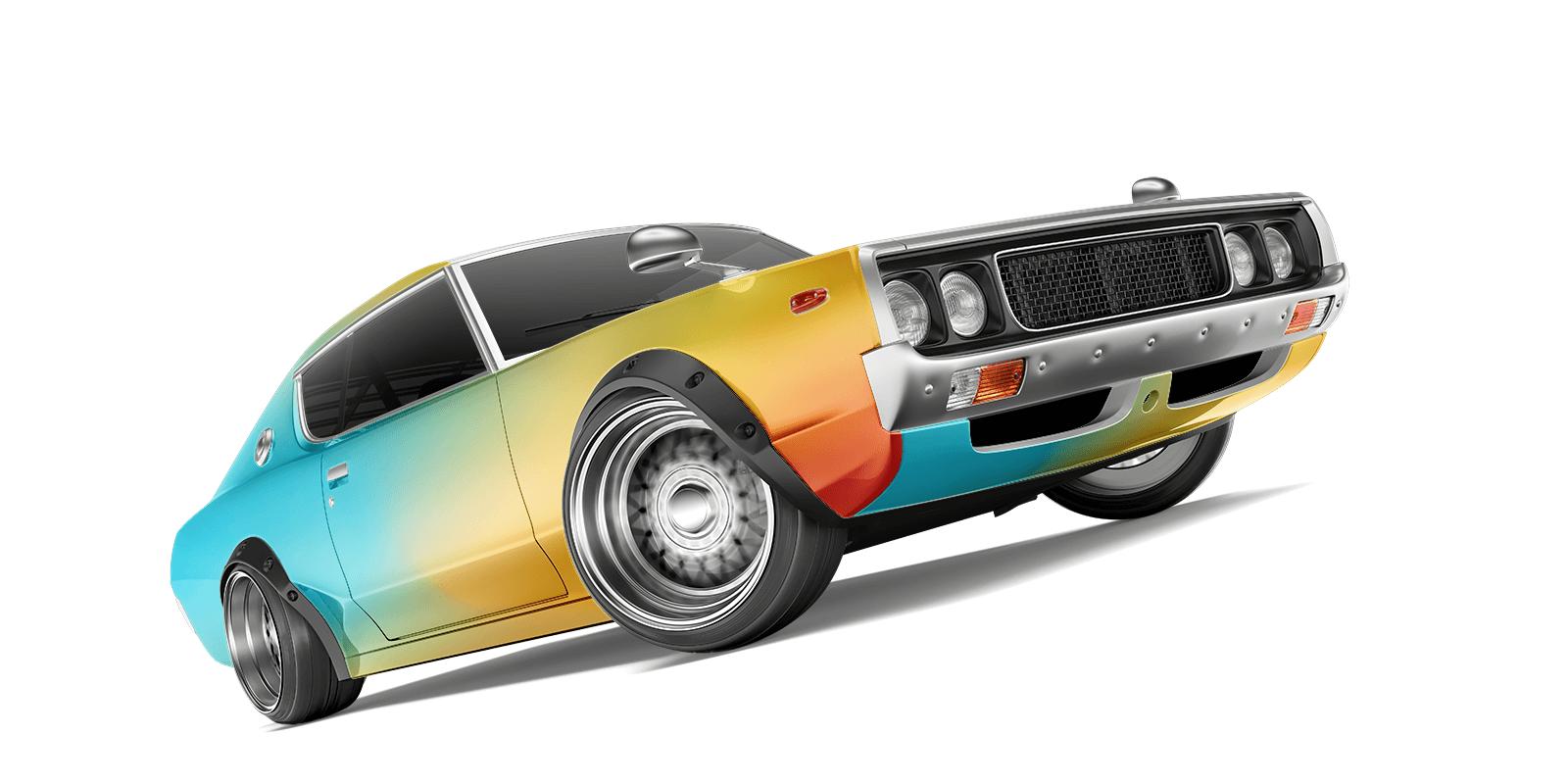 Free Retro Sports Car Mockup