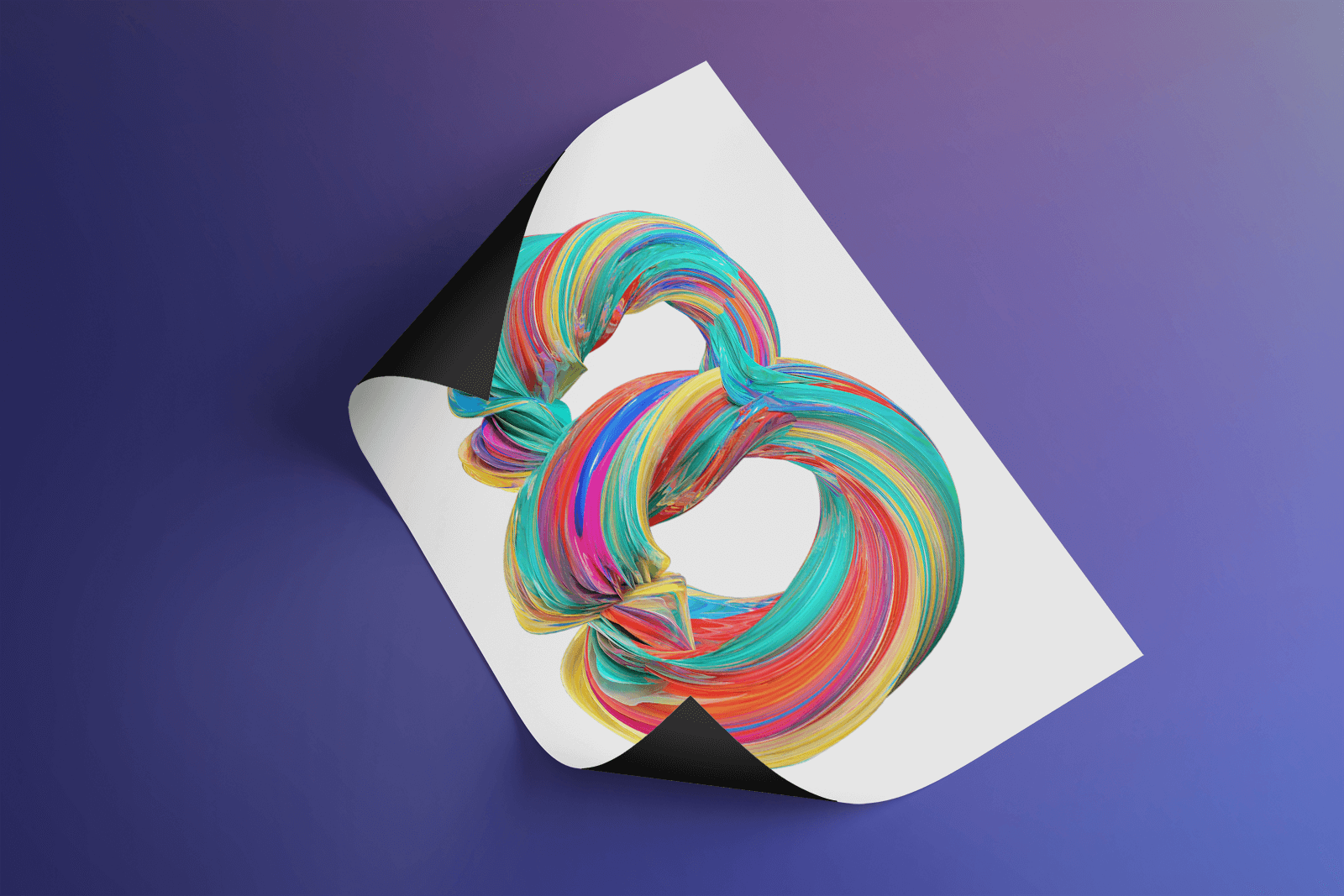 Free Curled Poster Mockup