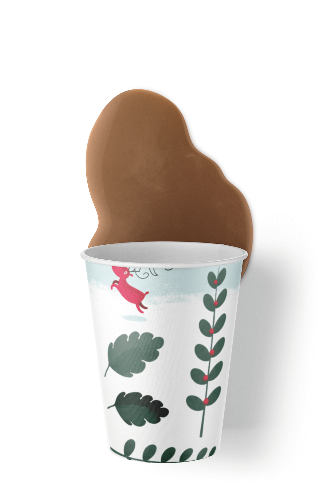 Free Paper Cup with spilled Coffee Mockup