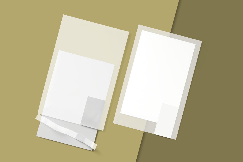 Free Transparent Envelope with Card Mockup