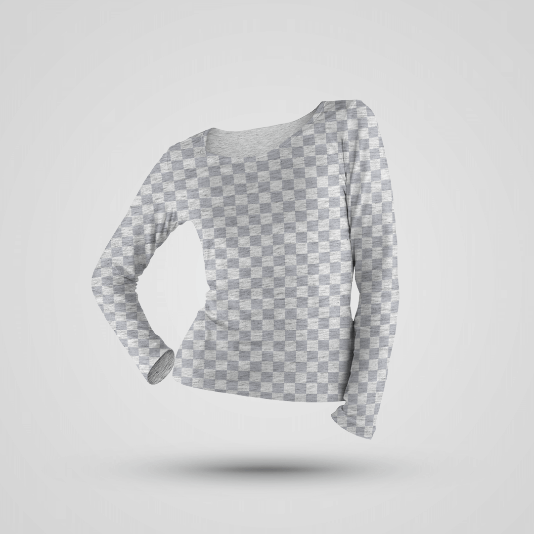 Free Women's Long-Sleeve Shirt Mockup