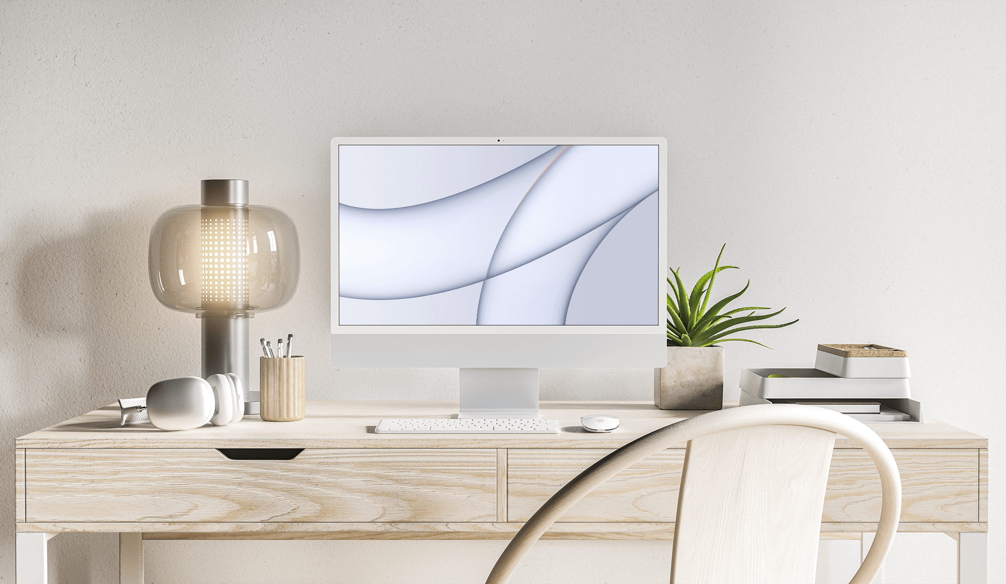 Free iMac 2021 on Desk Mockup