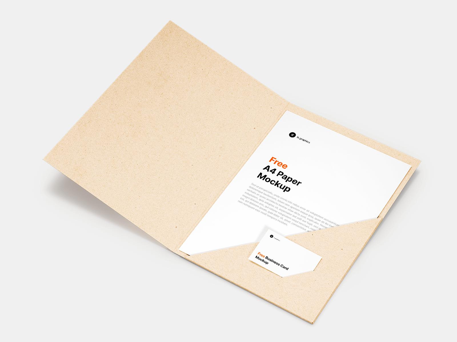Free Folder and Business Card Mockup