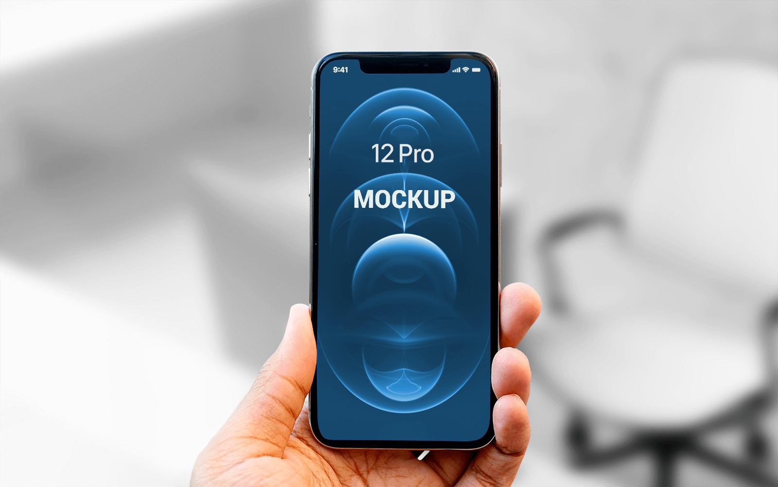 Free Hand holding iPhone 12 Pro Mockup