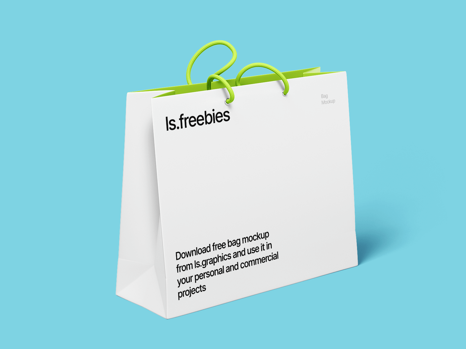 Free Paper Shopping Bag with Cotton Cord Handles Mockup