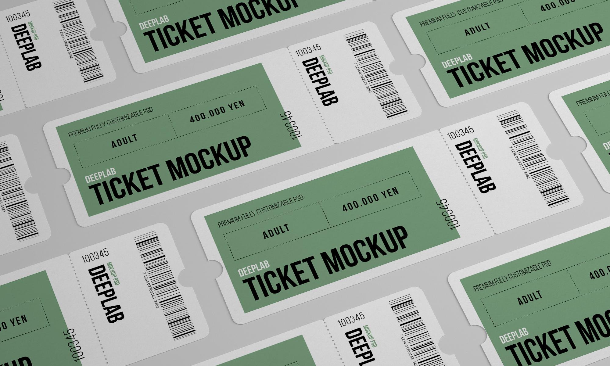 Free Ticket Mockup Set