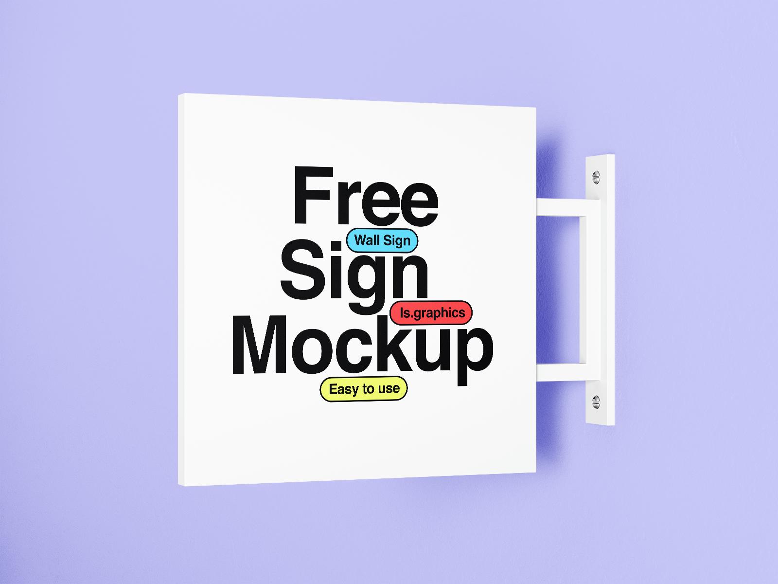 Free Wall-mounted Sign Mockup