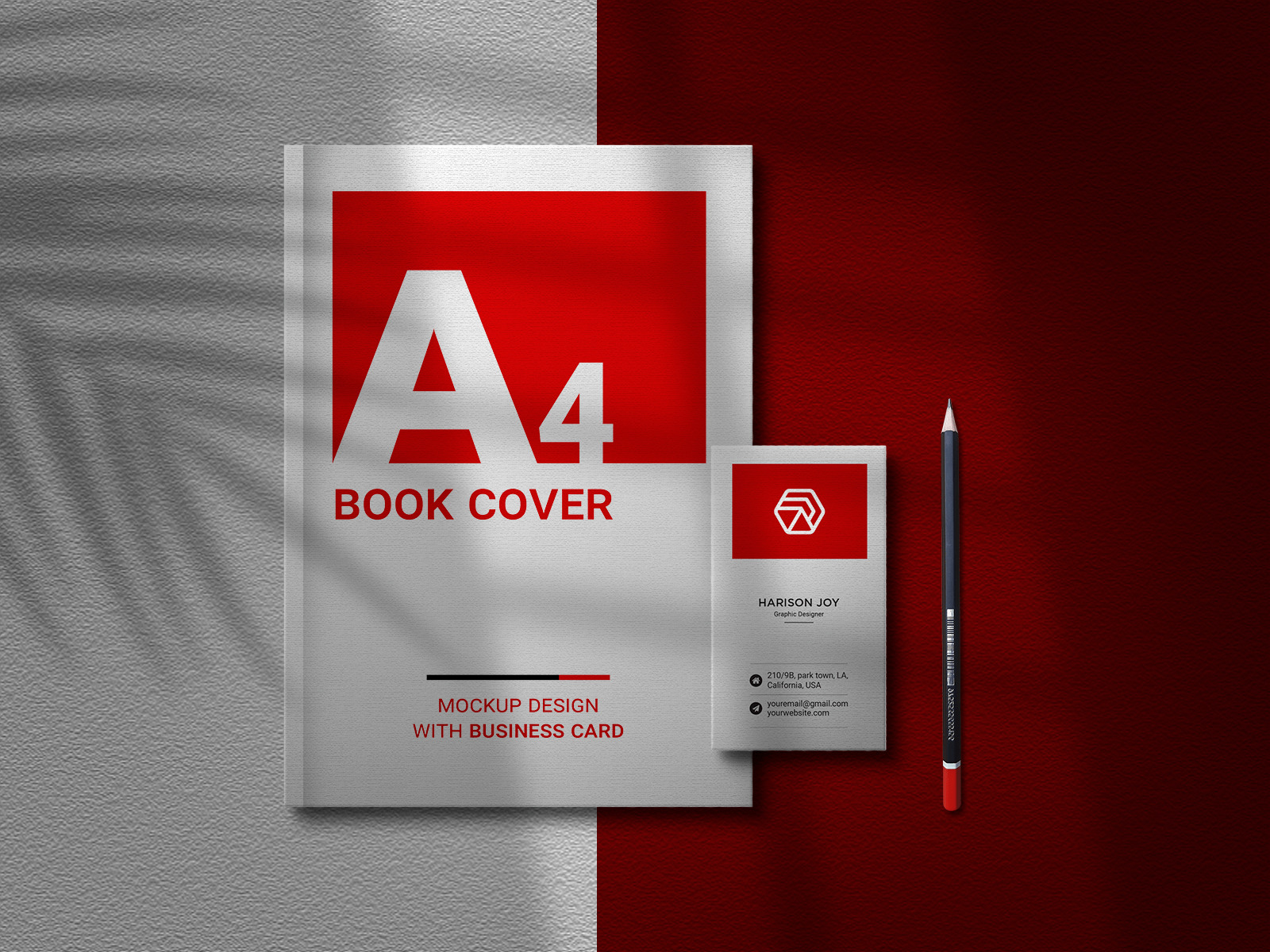 Free Book and Business Card Mockup