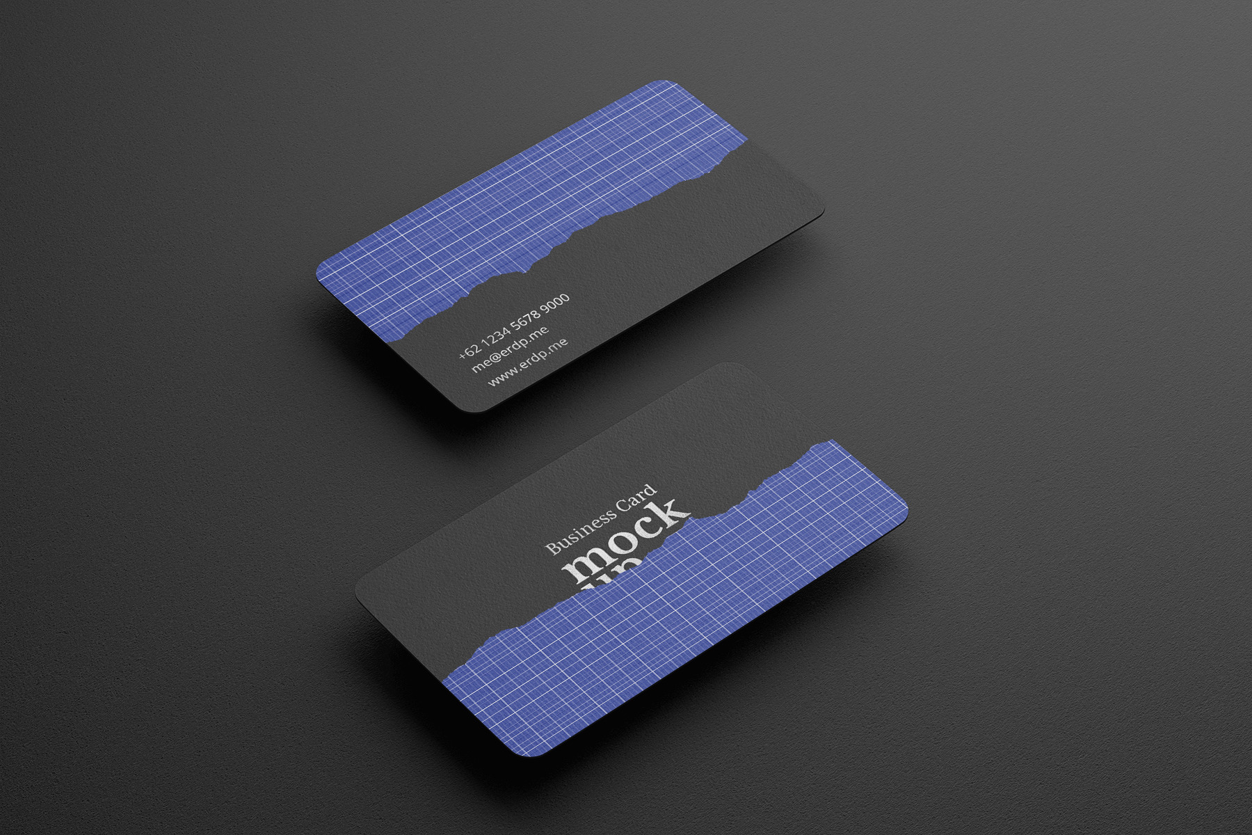 Free Business Cards with round Corners Mockup