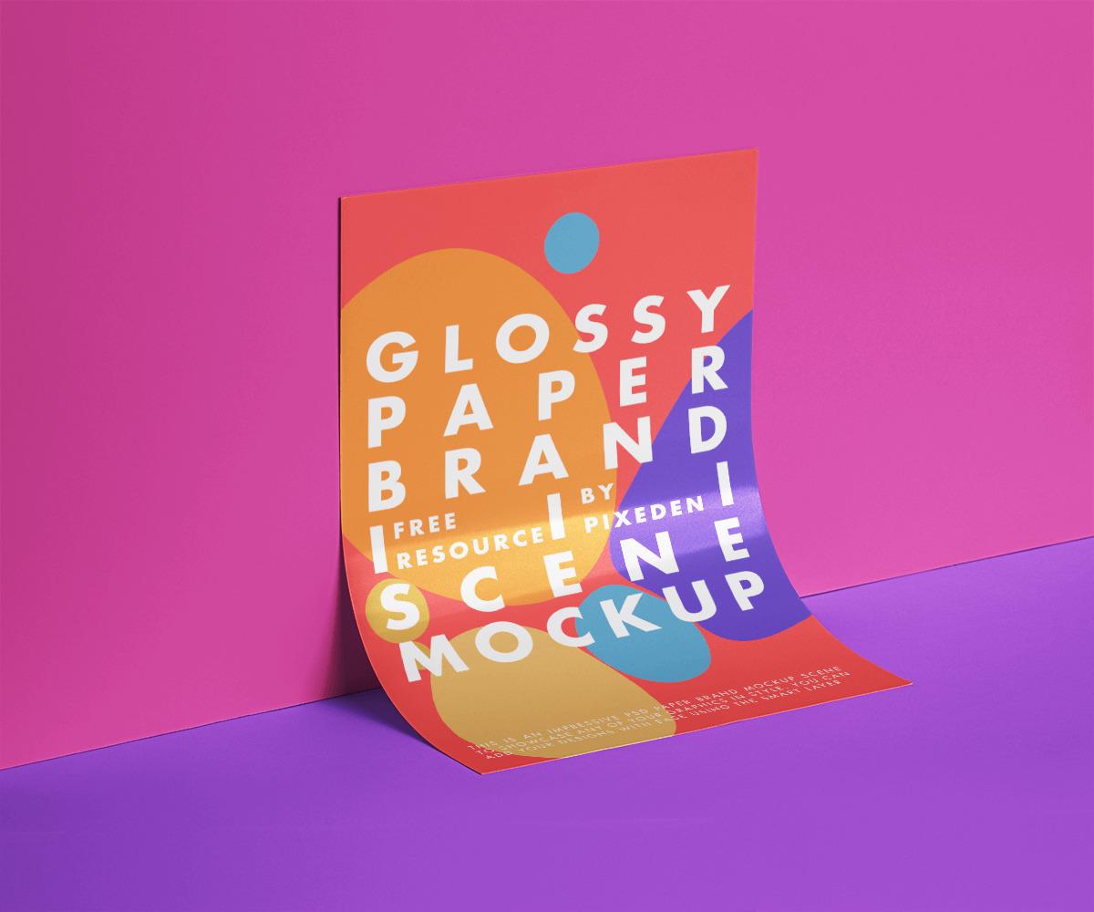 Free Glossy Flyer Presentation Mockup