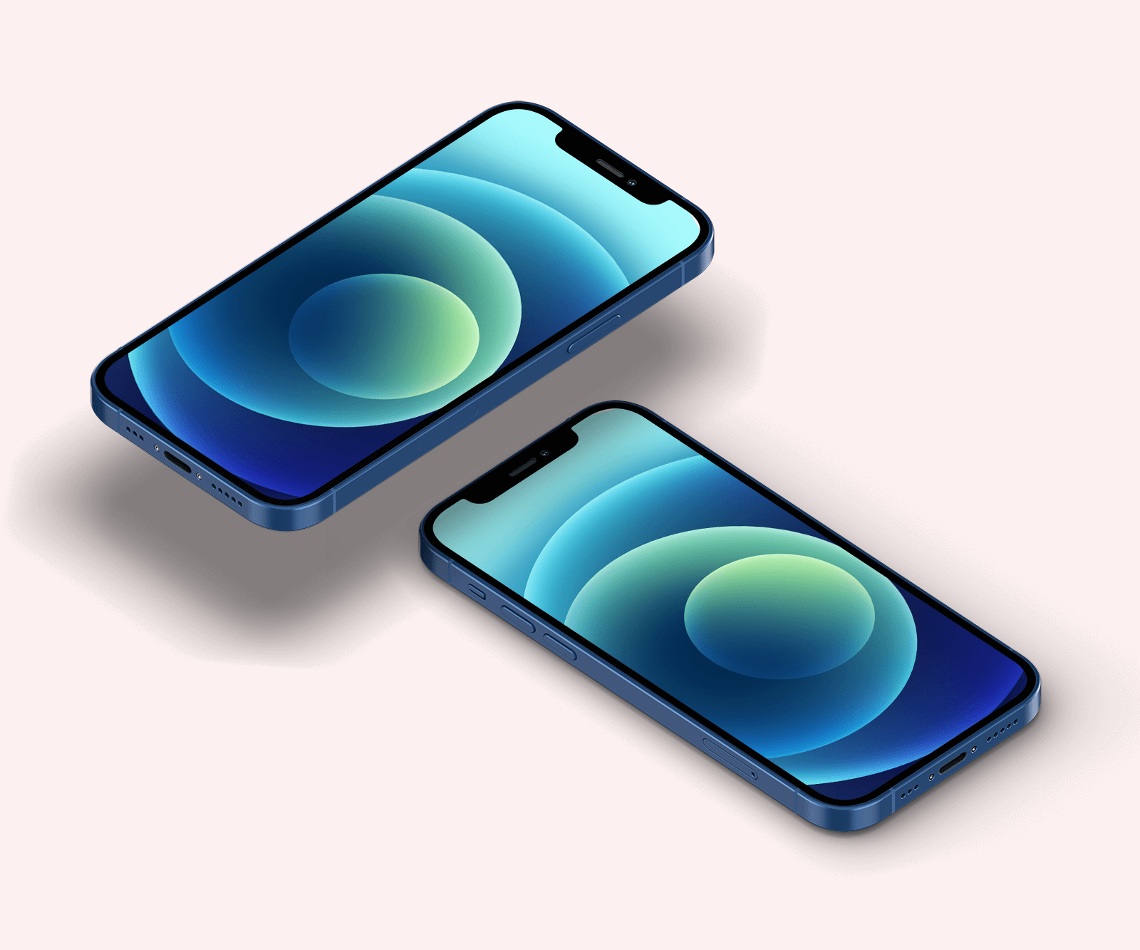 Free Isometric iPhone 12 Mockup