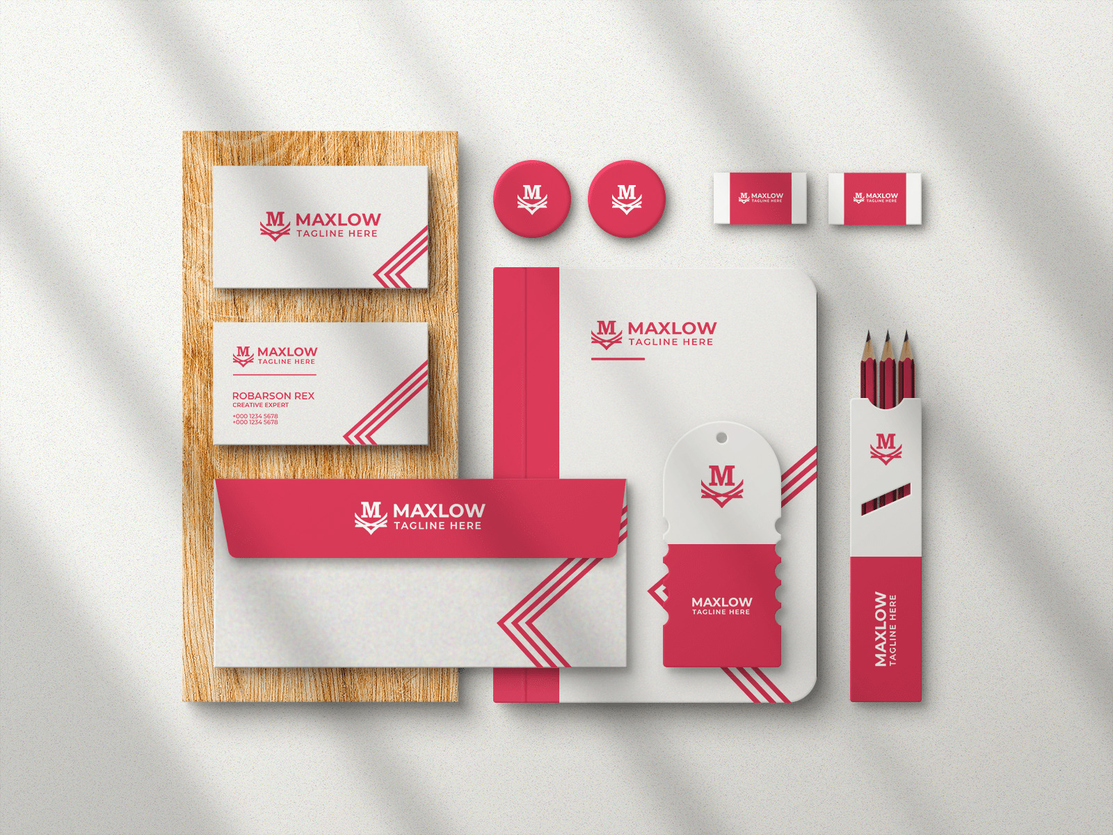 Free Branding Stationery with Shadow Mockup