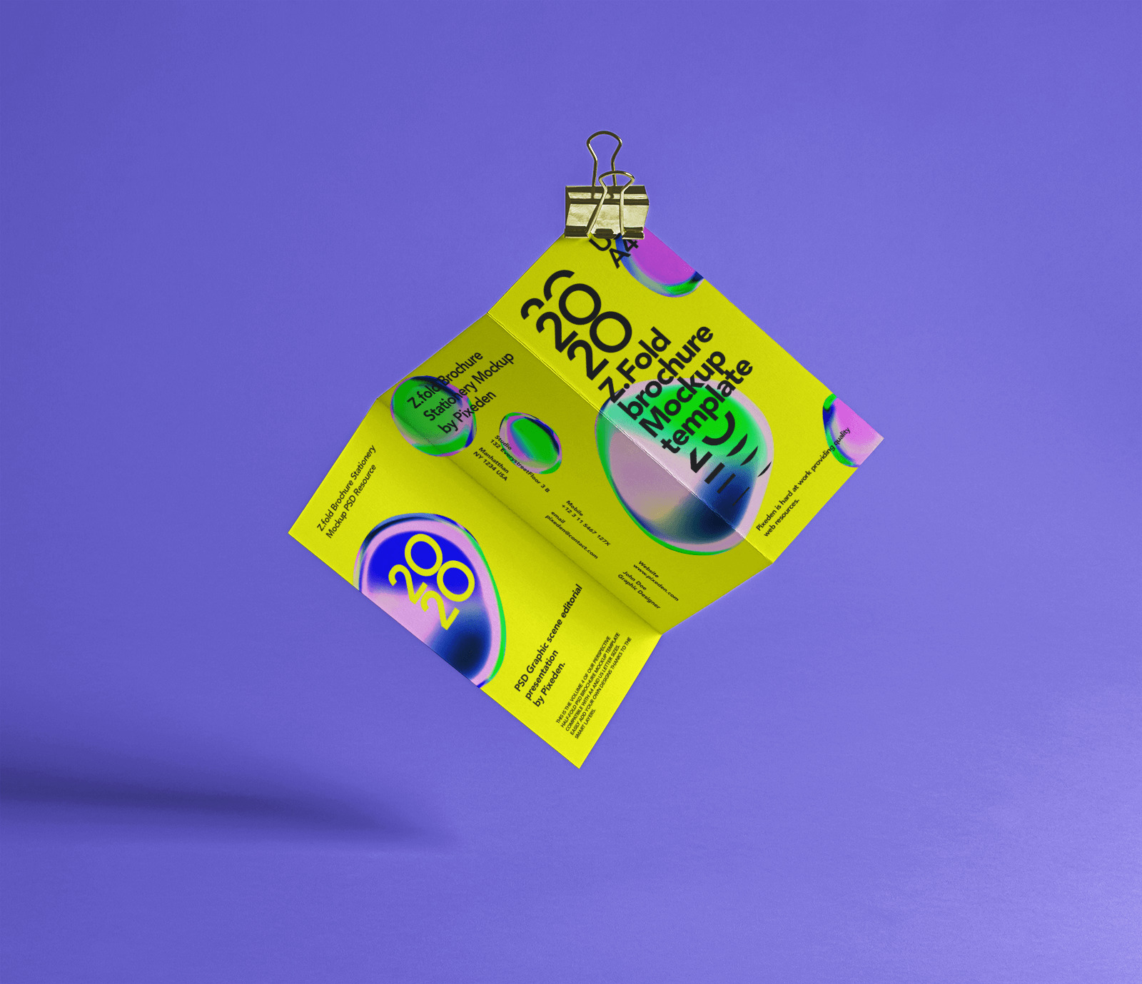 Free Floating Z-Fold Brochure Mockup