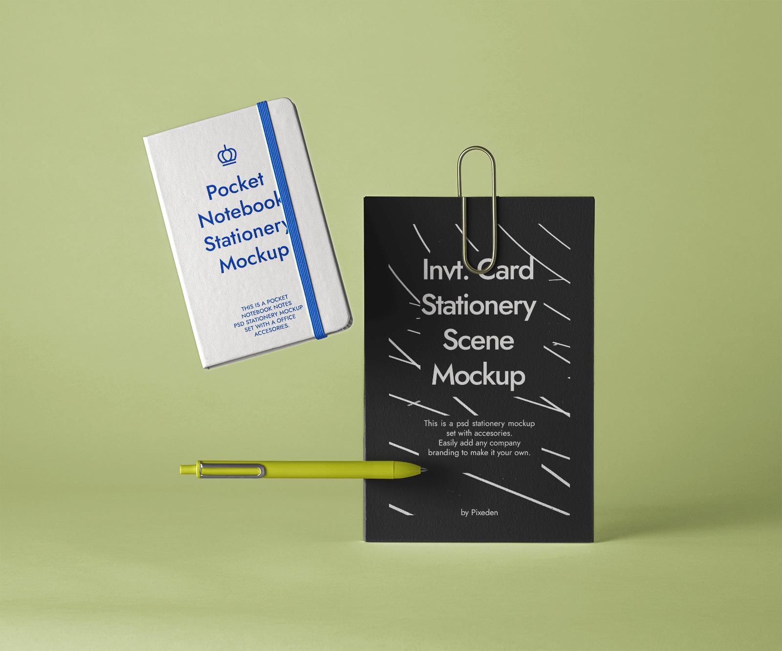 Free Invitation Card and Notebook Mockup