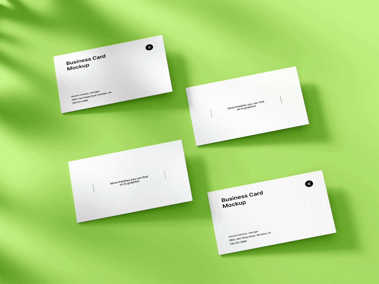 Free Four Business Cards Mockup