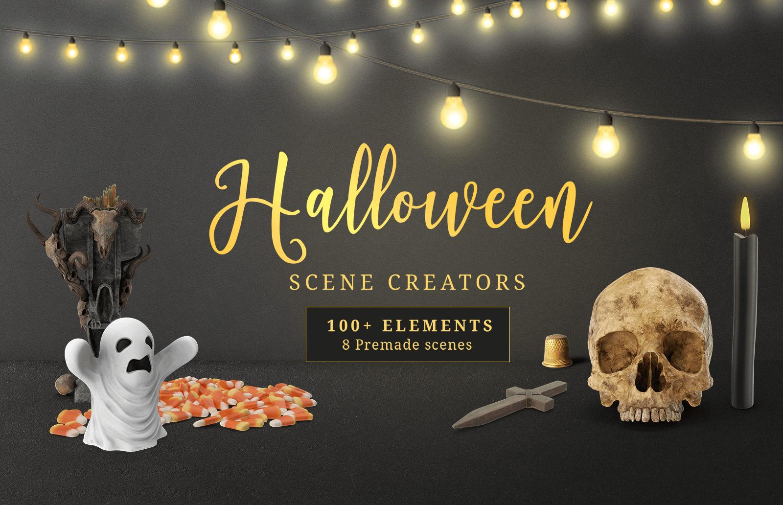 Free Free Halloween Scene Creator Mockup Bundle