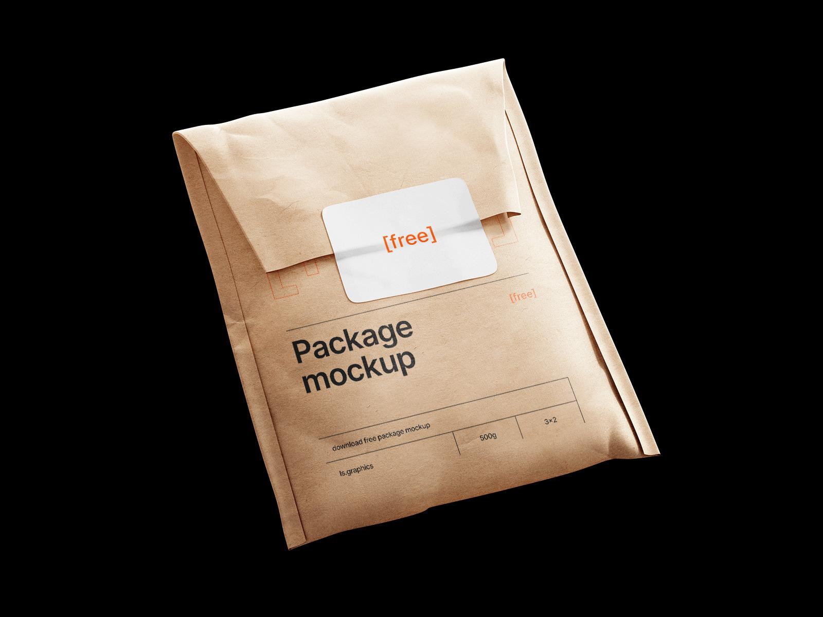 Free Kraft Paper Package Envelope Mockup