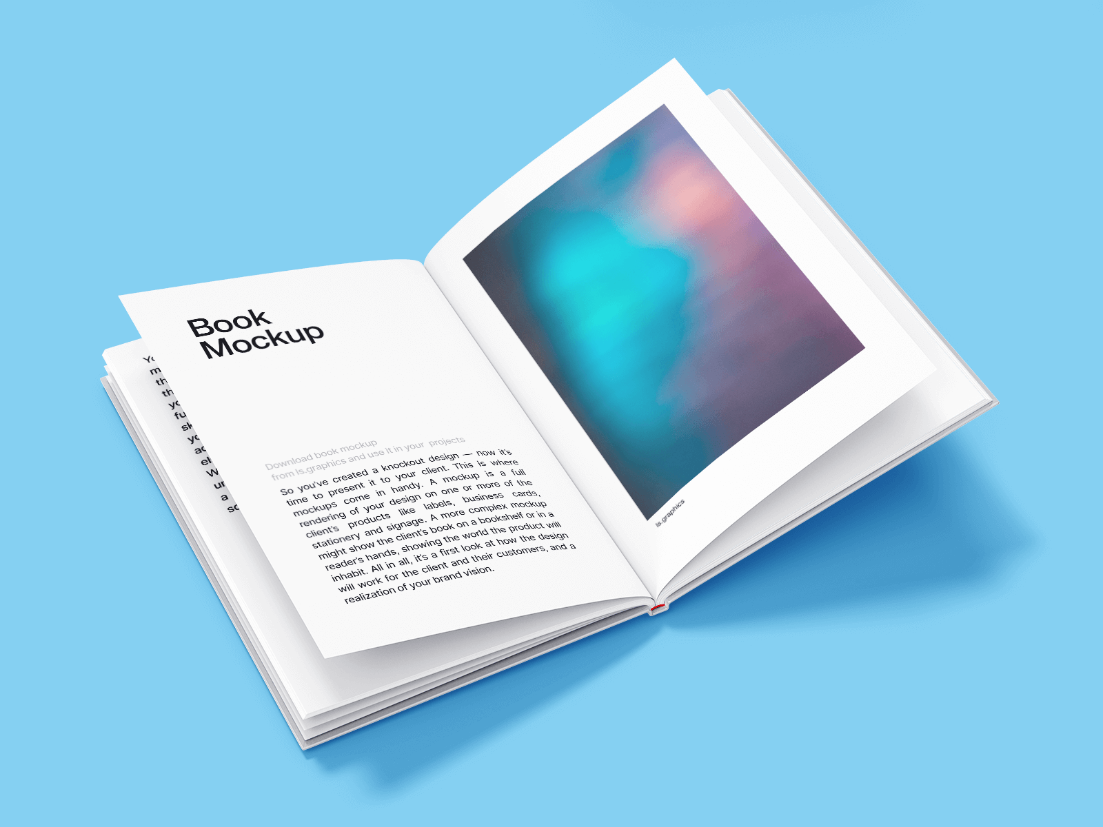 Free Open slim Hardcover Book Mockup