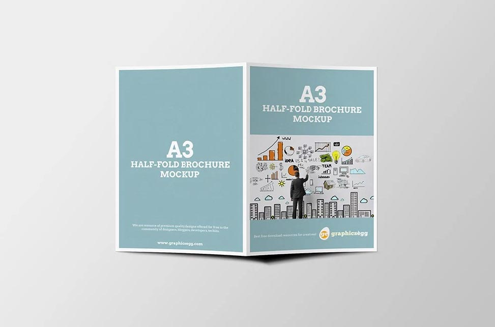 a3 half fold brochure mockup apemockups