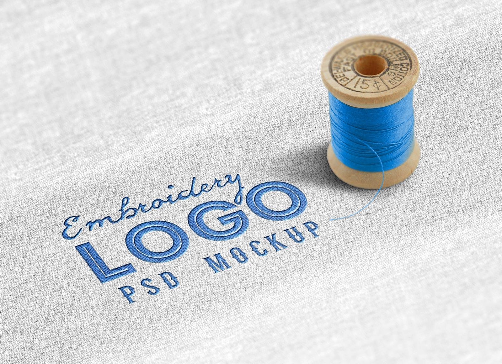 Cloth Fabric Embroidery Logo Mockup Apemockups