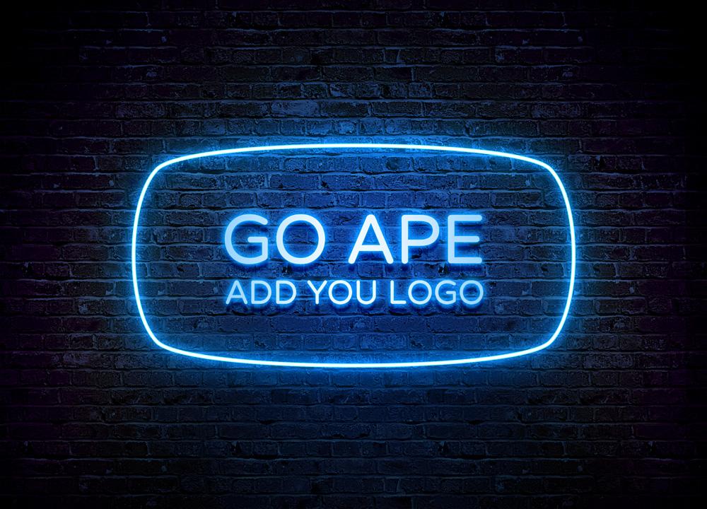 free neon logo mockup psd apemockups