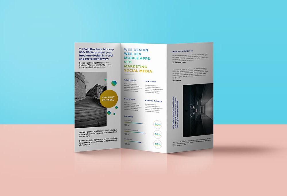 standing trifold brochure mockup apemockups