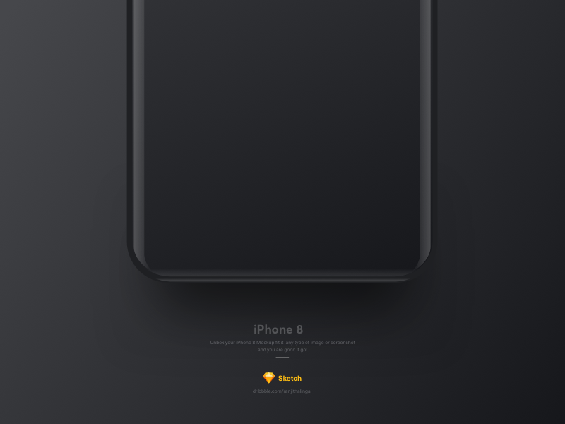 Free Sketch IPhone 8 Black Mockup PSD