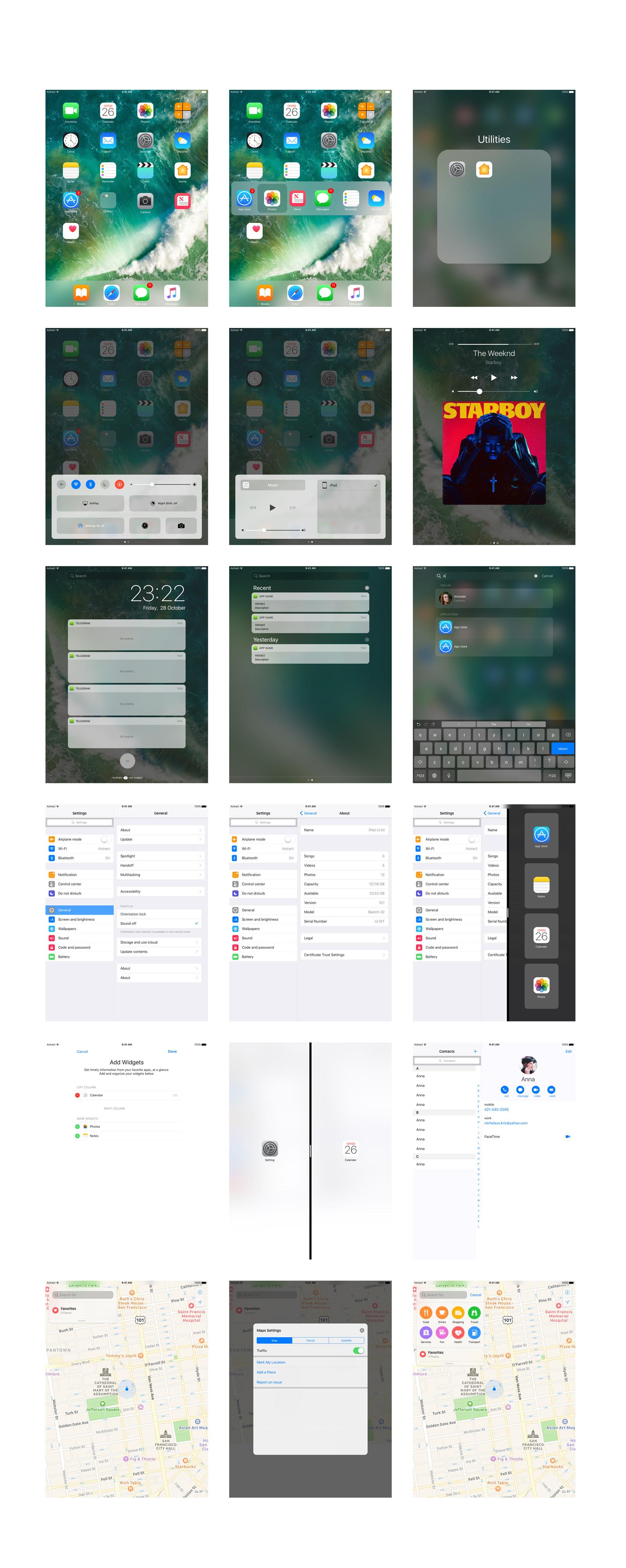 iOS 10 – iPad Pro 9 7 Sketch UI Kit | Free Mockups, Best Free PSD