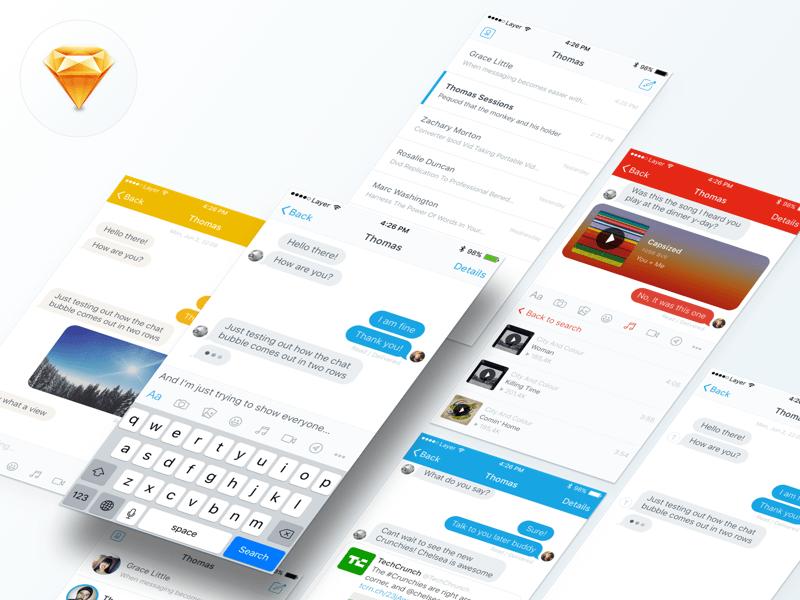 Messaging UI Kit – Sketch Resource | Free Mockups, Best Free