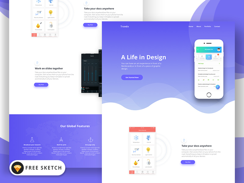 Trandx App Landing Page Template for Sketch | Free Mockups, Best
