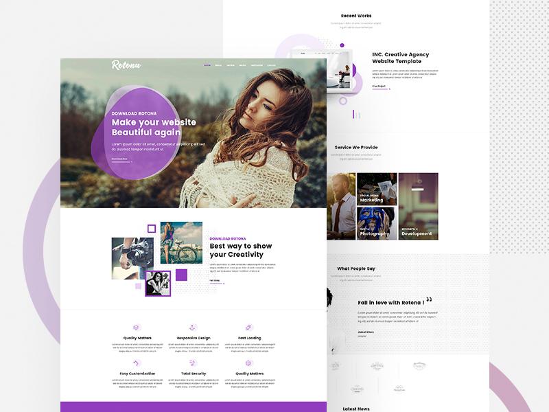 Creative Website Template Rotona Free Mockups Best Free Psd