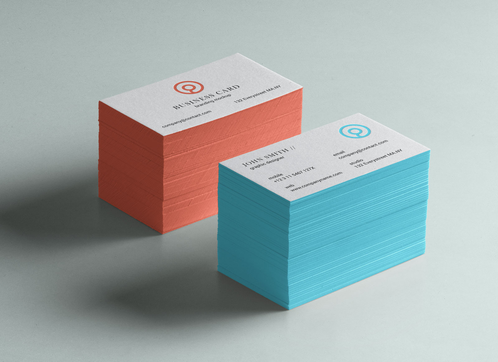 Free Business Card with Color Edge Mockup PSD | ApeMockups