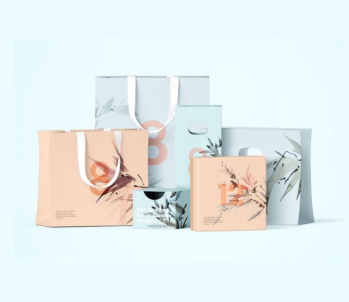 Free Bag and Box Mockup | Free Mockups, Best Free PSD Mockups