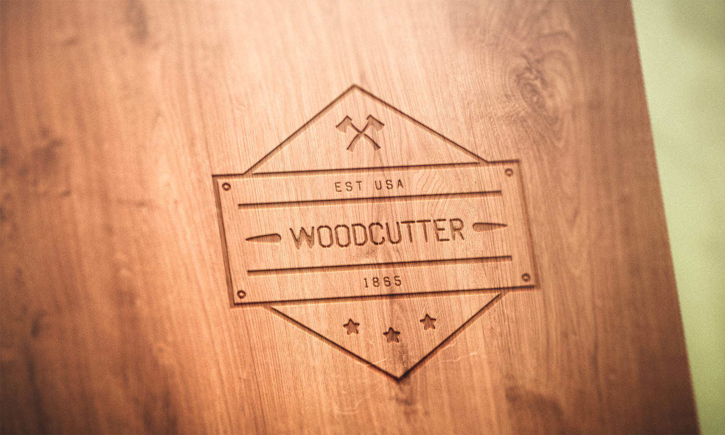 logo mockup wood free psd