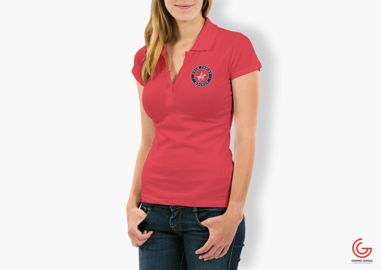 Free Woman Polo T Shirt Mockup Apemockups