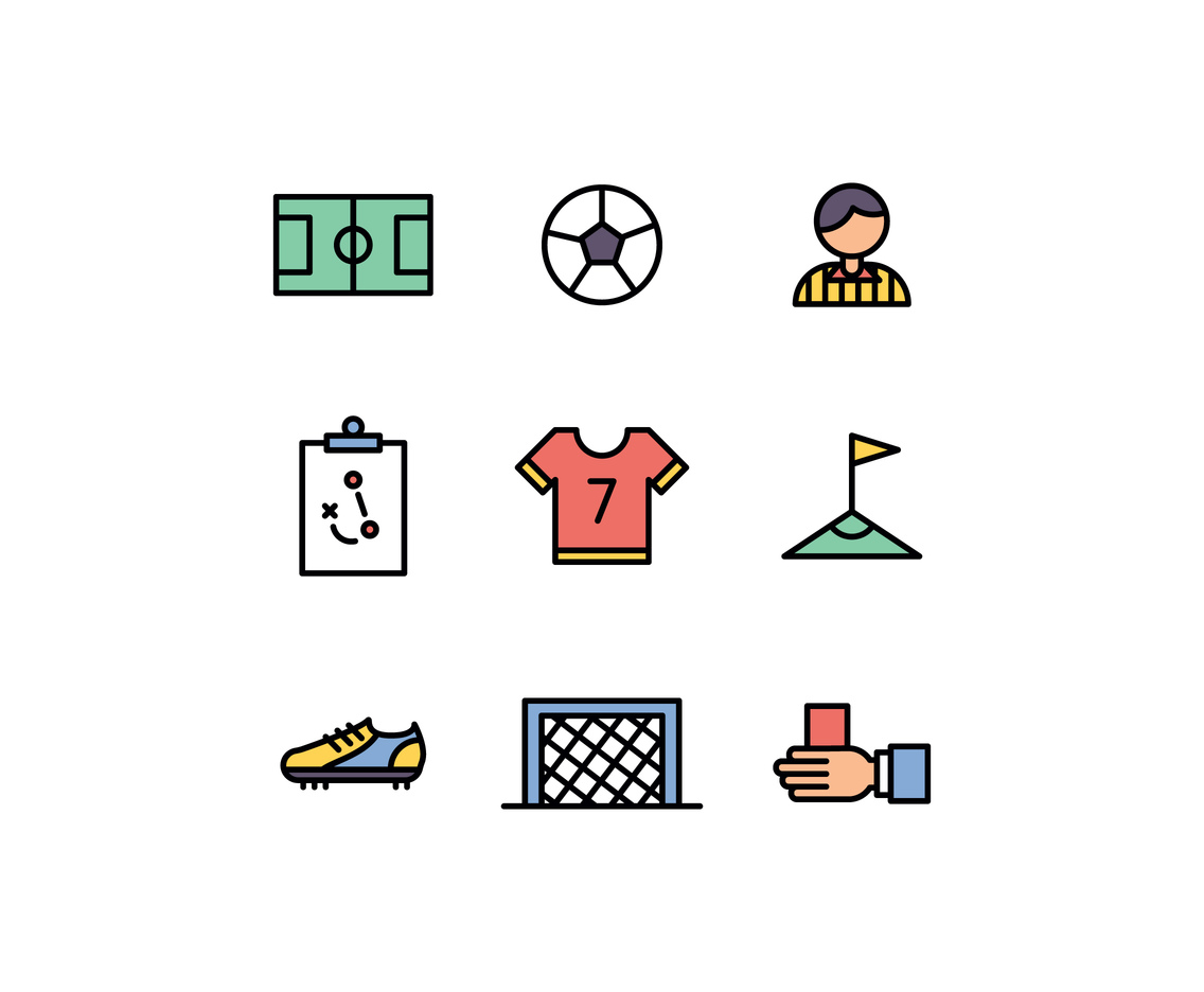 Set Of Soccer Icons Free Vector | Free Mockups, Best Free PSD