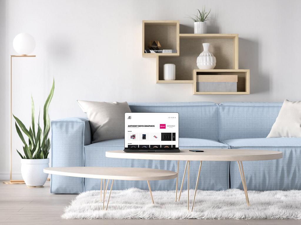 MacBook Pro in a Living Room Mockup | Free Mockups, Best Free PSD