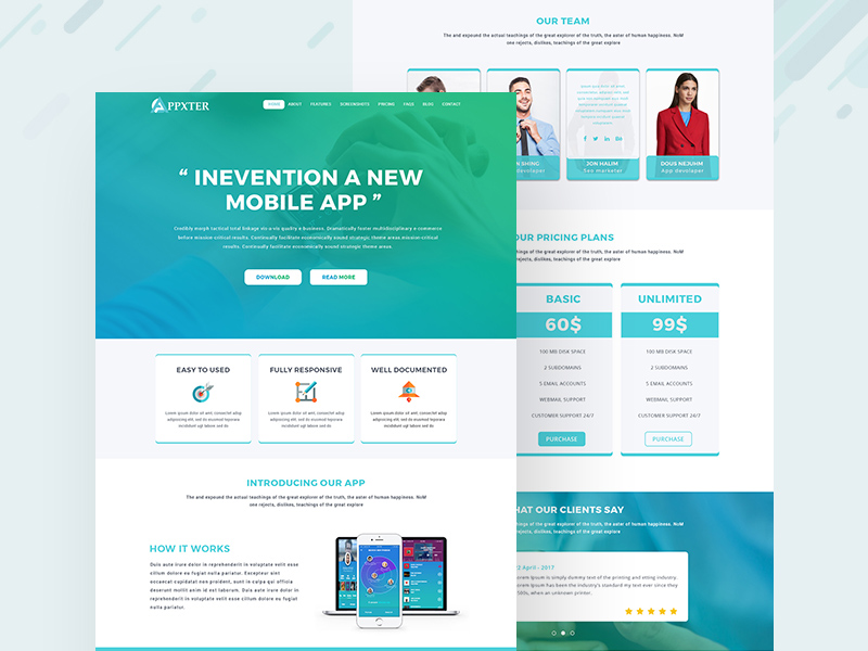 App Landing One Page Template
