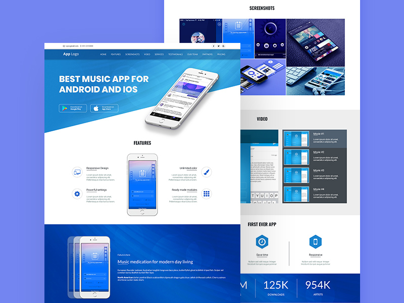 App Landing Page Design Template PSD