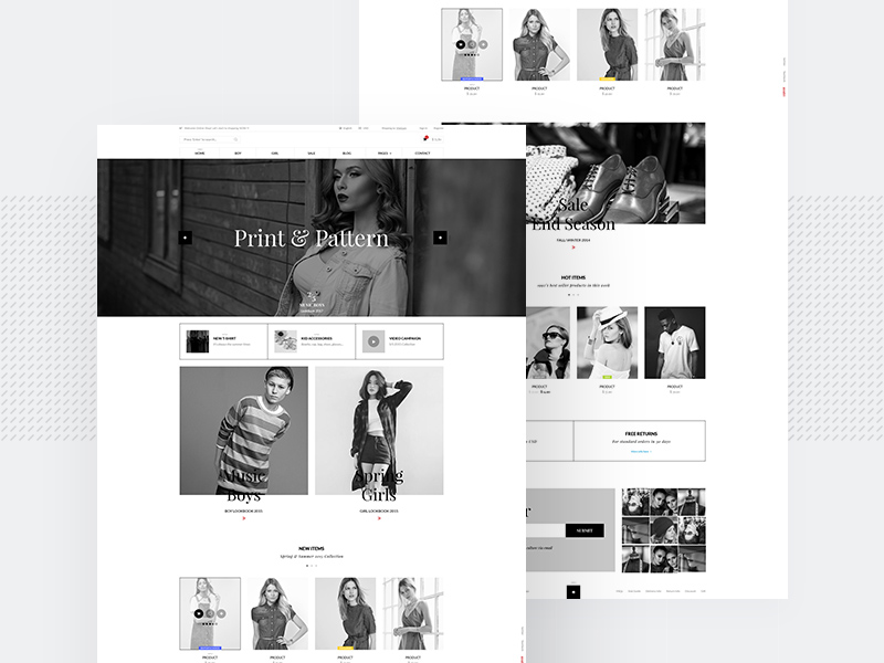 Black and White Ecommerce Website Template PSD