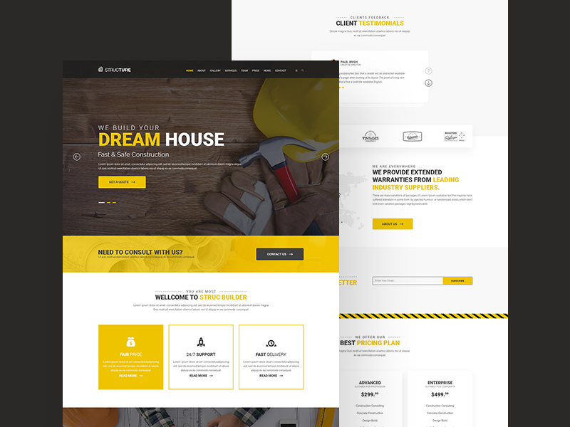 Construction Website Template Free PSD